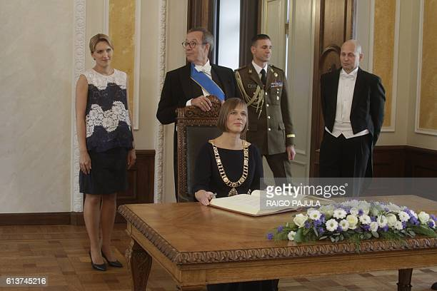 Estonia's President Kersti Kaljulaid her husband GeorgiRene Maksimovski former Estonia's President Toomas Hendrik Ilves and his spouse Ieva Ilves...