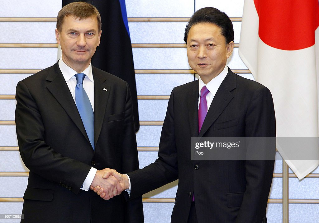 Estonia's Prime Minister <a gi-track='captionPersonalityLinkClicked' href=/galleries/search?phrase=Andrus+Ansip&family=editorial&specificpeople=566399 ng-click='$event.stopPropagation()'>Andrus Ansip</a> shakes hands with Japanese Prime Minister <a gi-track='captionPersonalityLinkClicked' href=/galleries/search?phrase=Yukio+Hatoyama&family=editorial&specificpeople=705513 ng-click='$event.stopPropagation()'>Yukio Hatoyama</a> at the official residence before their bilateral talk on February 15, 2010 in Tokyo, Japan. Mr Ansip is on a five day official visit to Japan.