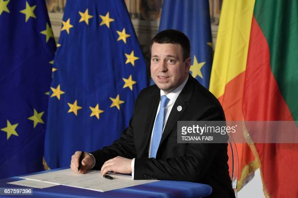 Estonia's prime Minister Juri Ratas signs the new Rome declaration with leaders of 27 European Union countries special during a summit of EU leaders...