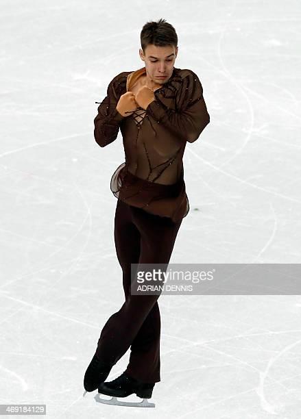 Estonia's Viktor Romanenkov performs during the Men's Figure Skating Short Program at the Iceberg Skating Palace during the Sochi Winter Olympics on...
