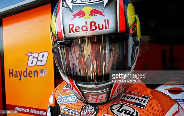US Nicky Hayden is pictured in the paddock during the qualifying practice for the Moto GP World Championship in Estoril 14 October 2006 Valentino...