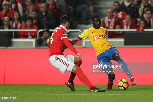 Estoril Praia forward Allano Lima from Brazil tries to escape Benfica's defender Alejandro Grimaldo from Spain during the match between SL Benfica...
