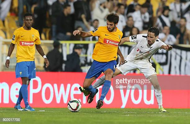 Estoril PraiaÕs midfielder Afonso Taira with Vitoria de GuimaraesÕs forward Lica in action during the Primeira Liga match between GD Estoril Praia...