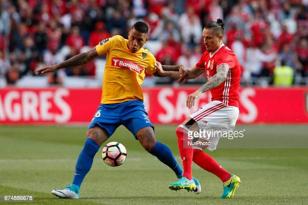 Estoril's defender Carlinhos vies for the ball with Benfica's midfielder Ljubomir Fejsa during Premier League 2016/17 match between SL Benfica vs GD...