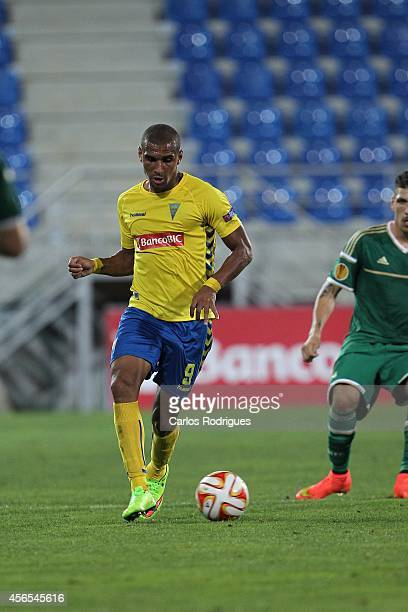 Estoril's forward Bruno Lopes during the UEFA Europa League match between Estoril Praia and Panathinaikos FC on October 2 2014 in Estoril Portugal