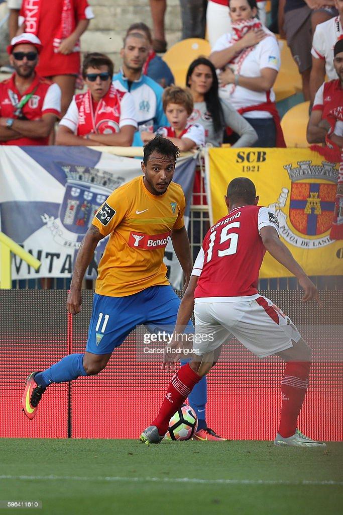 Estoril's forward Felipe Augusto from Brazil vies with Braga's defender Baiano from Brazil during the match between Estoril Praia SAD and SC Braga...