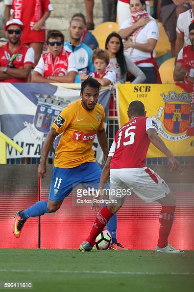 Estoril's forward Felipe Augusto from Brazil vies with Braga's defender Baiano from Brazil during the match between Estoril Praia SAD and SC Braga...
