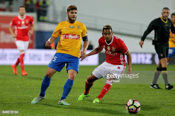 Estoril's midfielder Diogo Amado from Portugal and Benficas midfielder Filipe Augusto from Brazil during Portuguese Cup match between Estoril PS v SL...