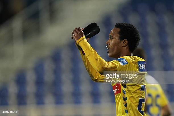 Estoril's midfielder Kuca celebrates s oring Estoril goal during the Portuguese First League match between GD Estoril Praia and FC Porto at Estadio...
