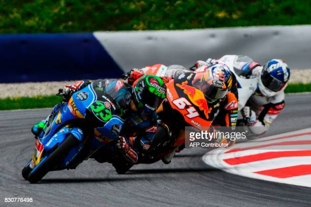 Estrella Galicia Italian rider Enea Bastianini Red Bull KTM Ajo's Dutch rider Bo Bendsneyder and British Talent Team's British rider John Mcphee...