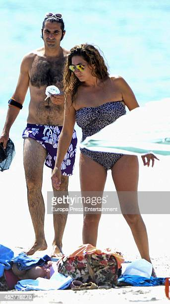Estrella Morente and Javier Conde are seen on July 26 2014 in Palma de Mallorca Spain