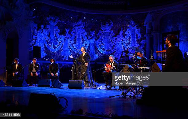Estrella Morente performs on stage at the Palau de la Musica Catalana on February 26 2014 in Barcelona Spain