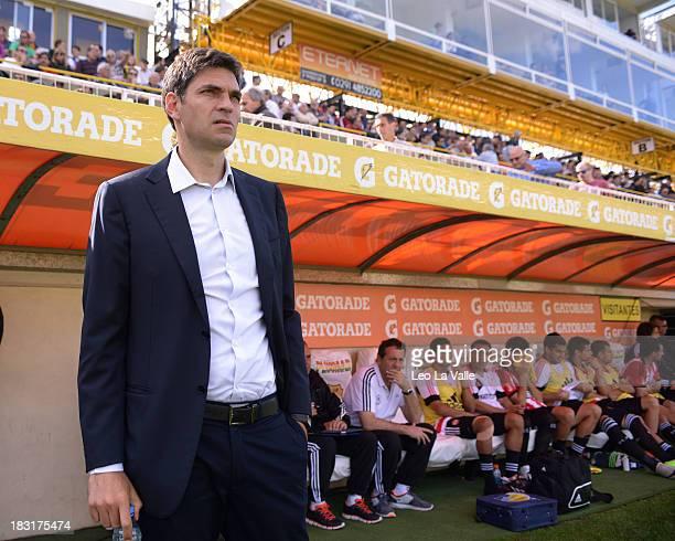Estudiantes de La Plata coach Mauricio Pellegrino reacts during a match between Olimpo and Estudiantes de La Plata as part of the Torneo Inicial 2013...