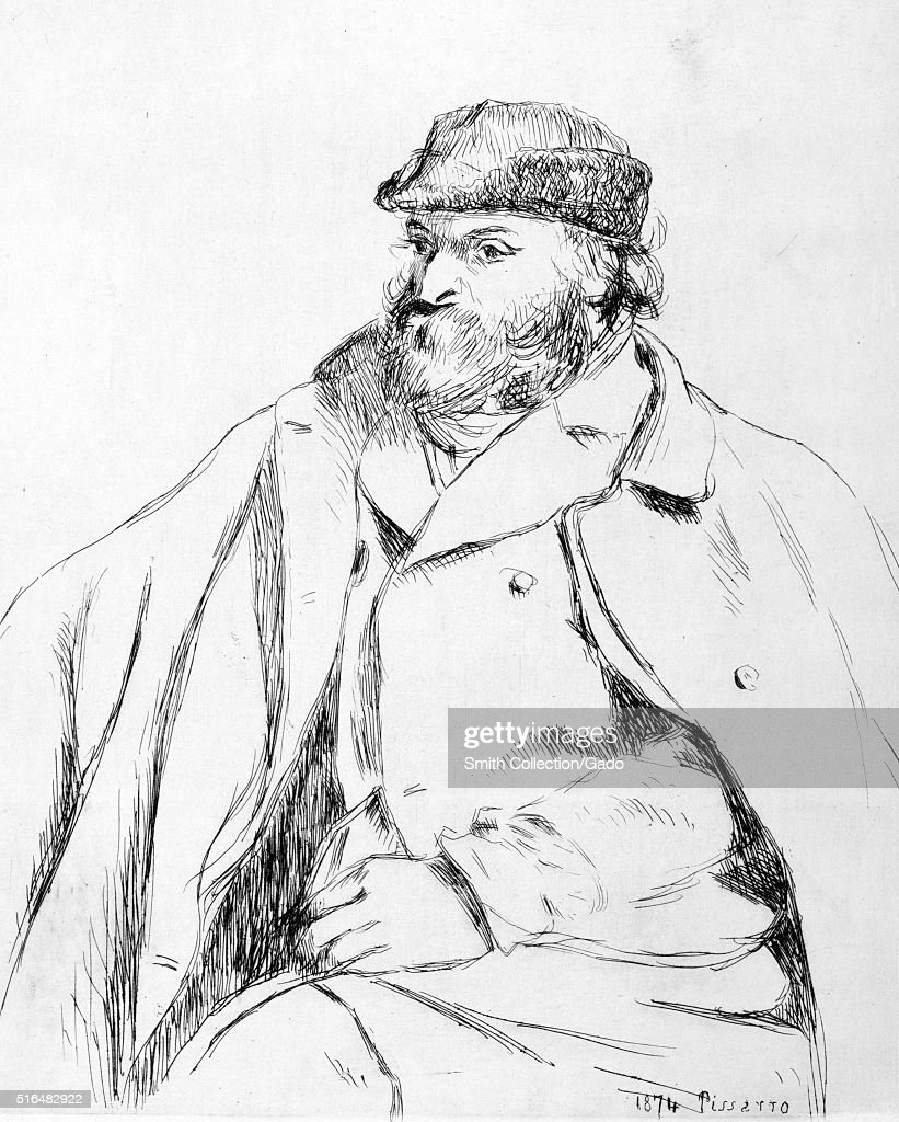 Etched portrait of <a gi-track='captionPersonalityLinkClicked' href=/galleries/search?phrase=Paul+Cezanne&family=editorial&specificpeople=99344 ng-click='$event.stopPropagation()'>Paul Cezanne</a>, French artist and Post-Impressionist painter, sitting, wearing a hat, jacket and coat, by Camille Pissarro, 1874. From the New York Public Library. (Photo by Smith Collection/Gado/Getty Images).