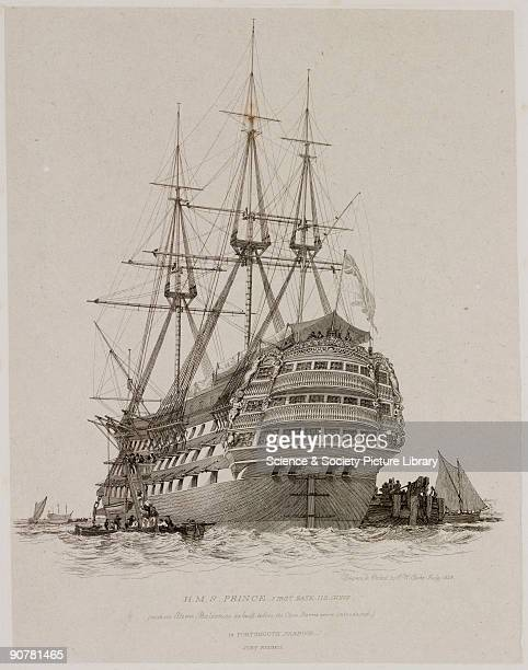 Etching after his own drawing by Edward William Cooke showing the HMS Prince with110 guns with the Stern Balconies as built before the Close Sterns...