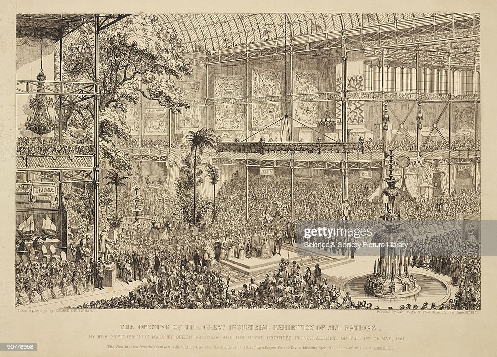 Etching by George Cruikshank showing Queen Victoria and Prince Albert opening the Great Industrial Exhibition for All Nations at the Crystal Palace...