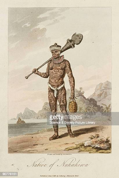 Etching by J A Atkinson after his own drawing of a tattooed Polynesian man Nukahiwa is now called Nuku Hiva and is the largest of the Iles Marquises...
