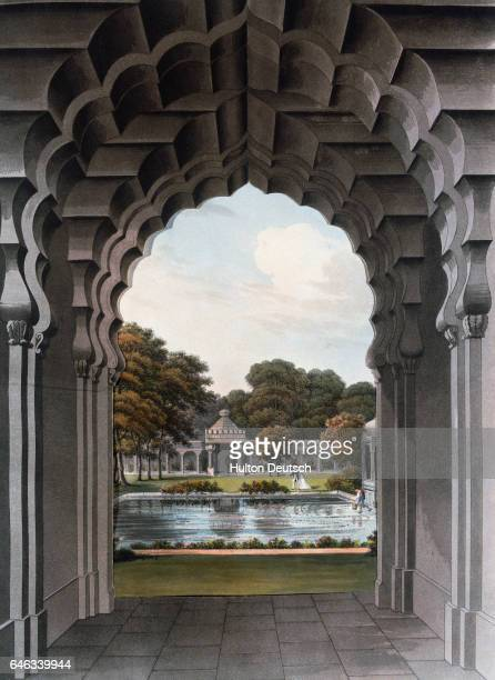 Etching from the proposed plan of Brighton Pavillon looking through an arch of the dome towards gardens