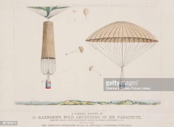 Etching showing views of the parachute closed on ascent and open on descent French aeronaut Andre Jacques Garnerin made the first ever successful...
