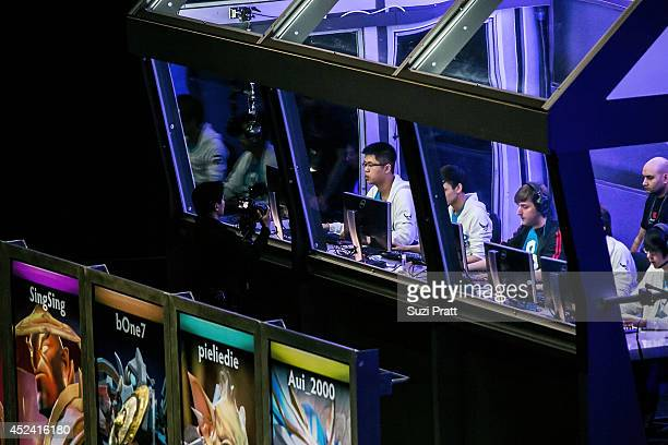 Eternalenvy SingSing bOne7 and pieliedie of Cloud 9 compete at The International DOTA 2 Championships at Key Arena on July 19 2014 in Seattle...