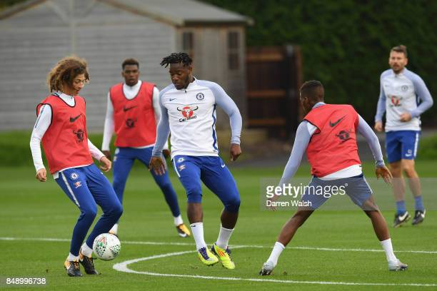 Ethan Ampadu and Michy Batshuayi of Chelsea during a training session at Chelsea Training Ground on September 18 2017 in Cobham England