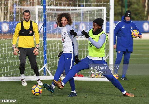 Ethan Ampadu and Michy Batshuayi of Chelsea during a training session at Chelsea Training Ground on December 1 2017 in Cobham England
