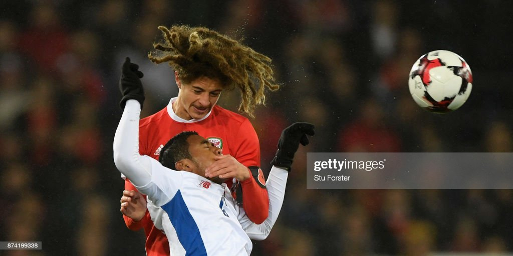 Ethan Ampadu climbs above Panama player Manuel Vargas during the International Friendly match between Wales and Panama at Cardiff City Stadium on November 14, 2017 in Cardiff, Wales.