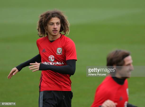 Ethan Ampadu in action during the Wales Training Session at The Vale Resort on November 06 2017 in Cardiff Wales