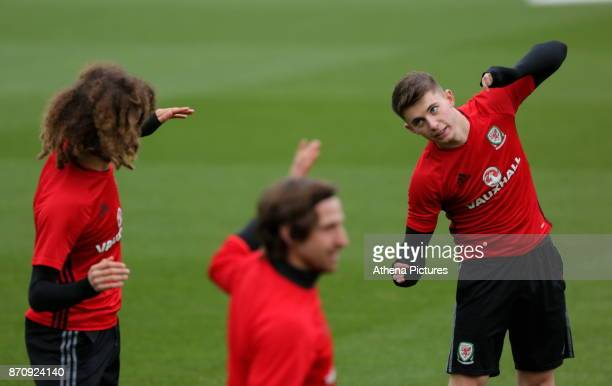 Ethan Ampadu Joe Allen and Ben Woodburn in action during the Wales Training Session at The Vale Resort on November 06 2017 in Cardiff Wales