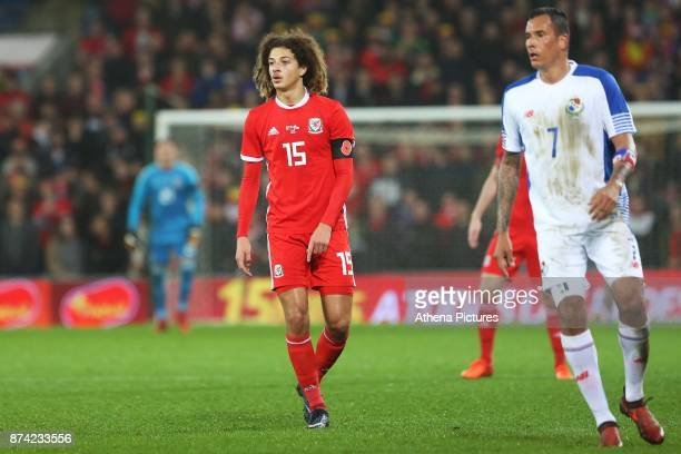 Ethan Ampadu of Wales and Blas Perez of Panama during the International Friendly match between Wales and Panama at The Cardiff City Stadium on...