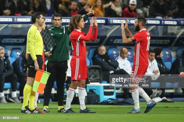 Ethan Ampadu of Wales comes on for Joe Ledley of Wales during the International Friendly fixture between France and Wales at Stade de France on...