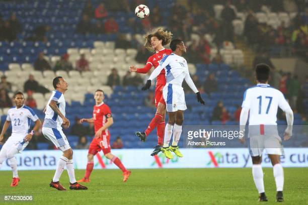 Ethan Ampadu of Wales competes with Leslie Heraldez of Panama for the aerial ball during the International Friendly match between Wales and Panama at...