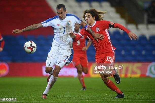 Ethan Ampadu of Wales in action with Blas Perez of Panama during the International match between Wales and Panama at Cardiff City Stadium on November...