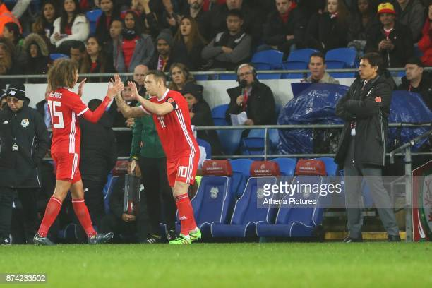 Ethan Ampadu of Wales is replaced by Andrew Crofts as Wales manager Chris Coleman watches during the International Friendly match between Wales and...