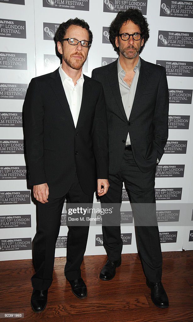 Ethan and <a gi-track='captionPersonalityLinkClicked' href=/galleries/search?phrase=Joel+Coen&family=editorial&specificpeople=4292064 ng-click='$event.stopPropagation()'>Joel Coen</a> arrive at the premiere of 'A Serious Man' during the Times BFI London Film Festival, at the Vue Cinema Leicester Square on October 27, 2009 in London, England.
