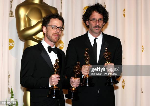 Ethan and Joel Coen with their awards for Acievement in Directing and Best Adapted Screenplay received for No Country For Old Men at the 80th Academy...