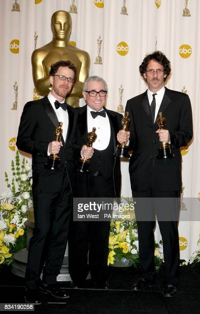 Ethan and Joel Coen with their awards for Acievement in Directing and Best Adapted Screenplay received for No Country For Old Men and Martin Scorcese...