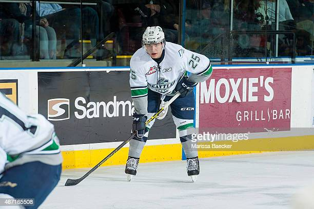 Ethan Bear of Seattle Thunderbirds lines up against the Kelowna Rockets on March 18 2015 at Prospera Place in Kelowna British Columbia Canada