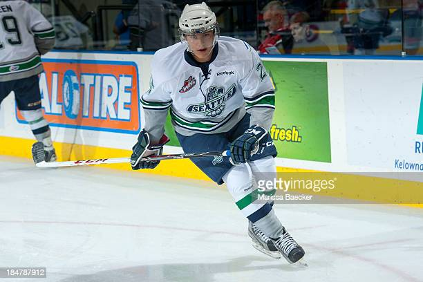 Ethan Bear of the Seattle Thunderbirds warms up at the Kelowna Rockets on October 11 2013 at Prospera Place in Kelowna British Columbia Canada