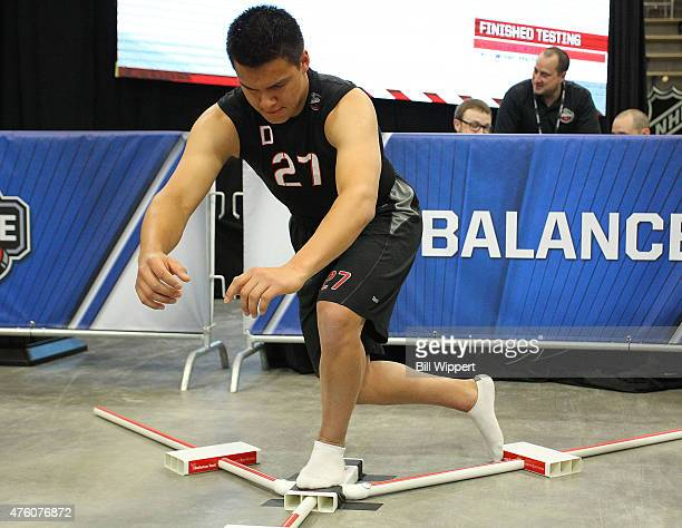 Ethan Bear performs a balance test during the NHL Combine at HarborCenter on June 6 2015 in Buffalo New York