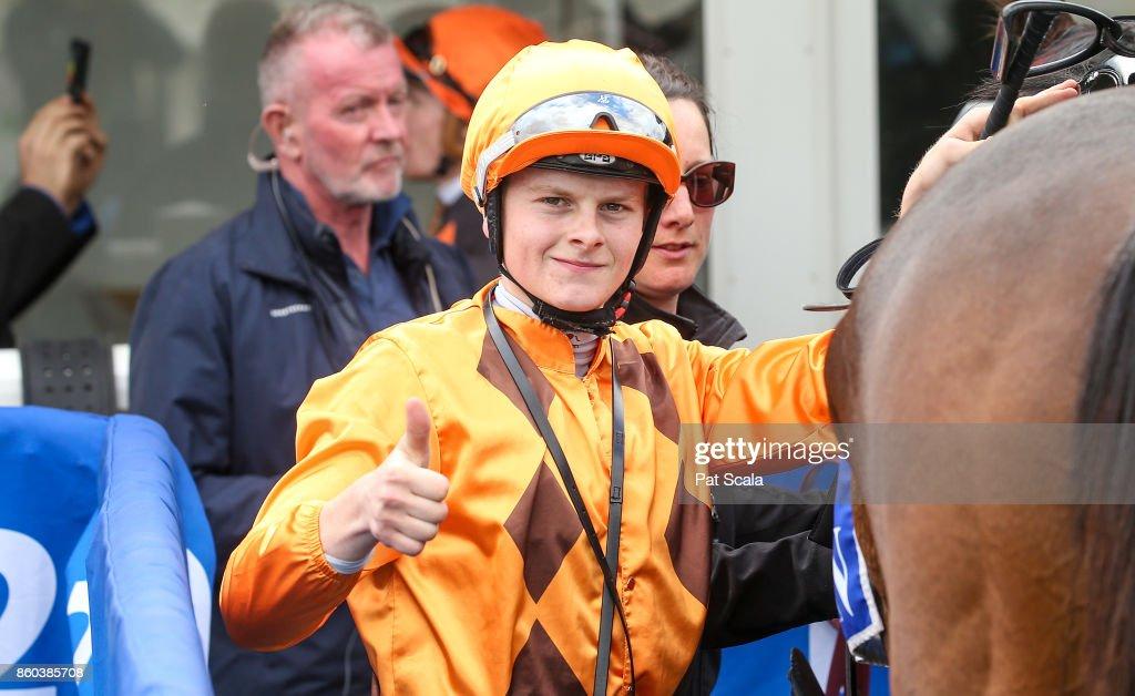 Ethan Brown returns to the mounting yard on He's a Moral after winning Hygain Winner Choice BM64 Handicap,at Sportsbet-Ballarat Racecourse on October 12, 2017 in Ballarat, Australia.