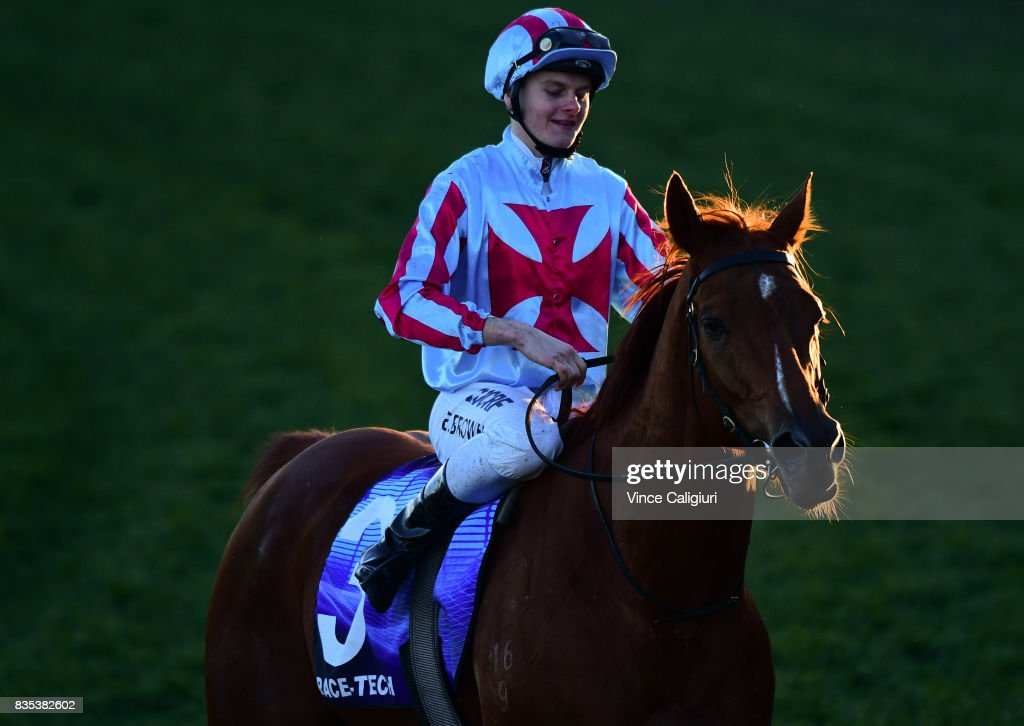 Ethan Brown riding Here To There after winning Race 9 during Melbourne Racing at Caulfield Racecourse on August 19, 2017 in Melbourne, Australia.