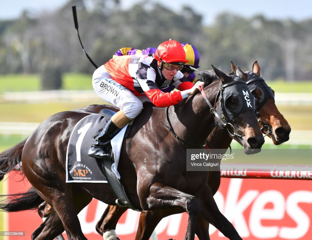 Ethan Brown riding Maraudamiss wins Race 5 during Melbourne Racing at Sandown Lakeside on August 16, 2017 in Melbourne, Australia.