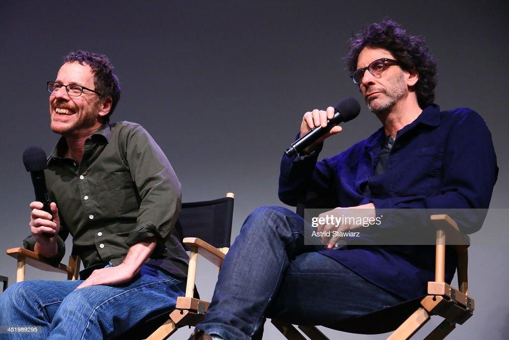 Ethan Coen and Joel Coen speak during Meet The Filmmakers 'Inside Llewyn Davis' at the Apple Store Soho on November 25 2013 in New York City
