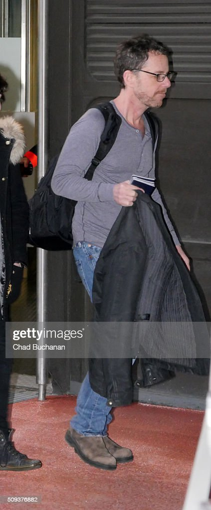 Ethan Coen sighted arriving at Tegel Airport on February 10, 2016 in Berlin, Germany.