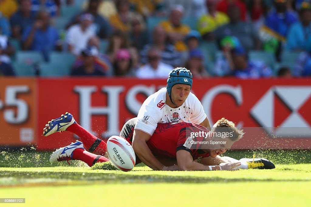 Ethan Davies of Wales loses the ball in goal during the 2016 Sydney Sevens match between England and Wales at Allianz Stadium on February 6, 2016 in Sydney, Australia.