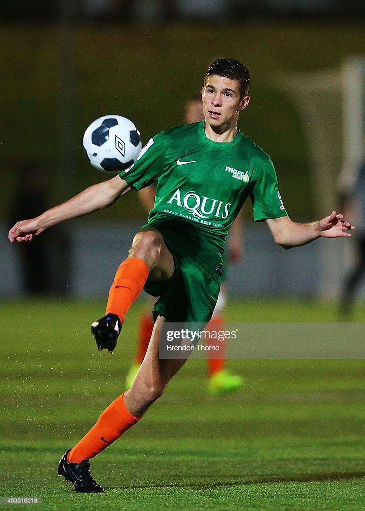 Ethan Docherty of the Heat controls the ball during the FFA Cup match between Sydney United 58 FC and the FNQ Heat at Sydney United Sports Centre on August 12, 2014 in Sydney, Australia.