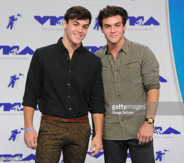 Ethan Dolan and Grayson Dolan arrive at the 2017 MTV Video Music Awards at The Forum on August 27 2017 in Inglewood California