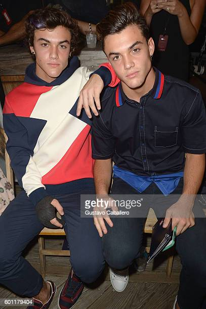 Ethan Dolan and Grayson Dolan attend the #TOMMYNOW Women's Fashion Show during New York Fashion Week at Pier 16 on September 9 2016 in New York City