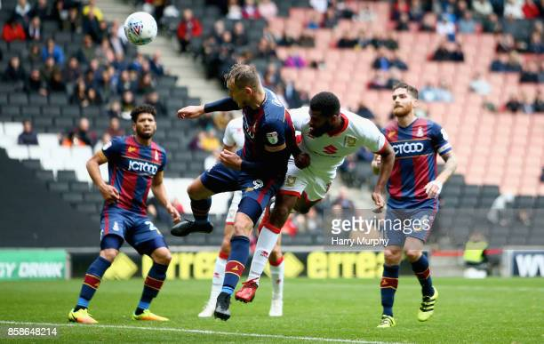 Ethan EbanksLandell of Milton Keynes Dons scores his teams opening goal with a header during the Sky Bet League One match between Milton Keynes Dons...